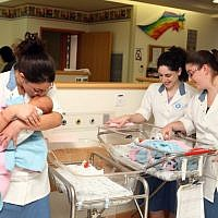 Illustrative: Jewish religious women do their national service at the maternity department at a hospital in Jerusalem. October 28, 2010. (Abir Sultan/FLASH90)