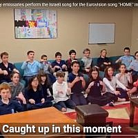 "Screenshot from the Jewish Agency YouTube video of groups around the world signing Kobi Marimi's ""Home"" entry  in the 2019 Eurovision Song Contest."