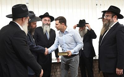 Vlodymyr Zelensky, Ukraine's president-elect, meets with rabbis in Kiev in early May 2019. (Courtesy of the Jewish Community of Dnepro/ via JTA)