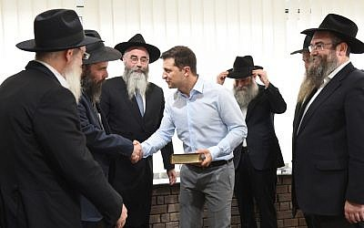 Vlodymyr Zelensky, Ukraine's newly elected Jewish president, meets with rabbis in Kiev in early May 2019. (Courtesy of the Jewish Community of Dnepro/ via JTA)