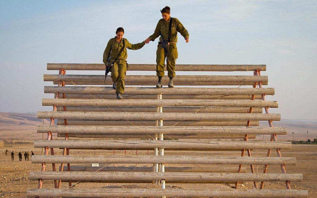 oldiers on an obstacle course in Shivta (Debbie Zimelman via JTA)