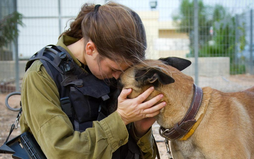 A soldier in the canine special forces in Hatzerim, Israel (Debbie Zimelman via JTA)
