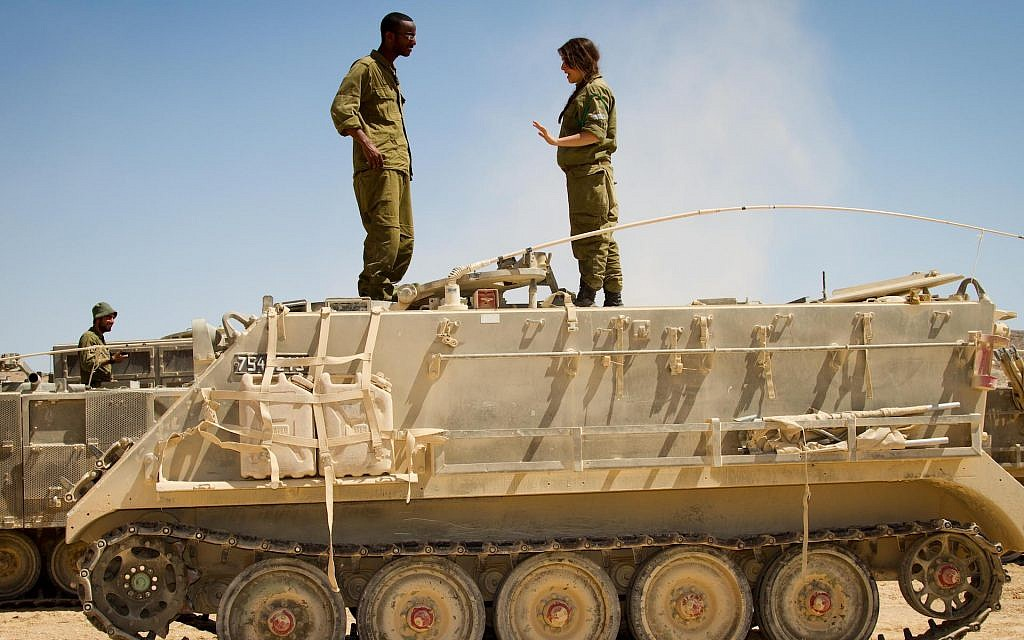 Soldiers at tank and Air Force training in the northern Negev (Debbie Zimelman via JTA)