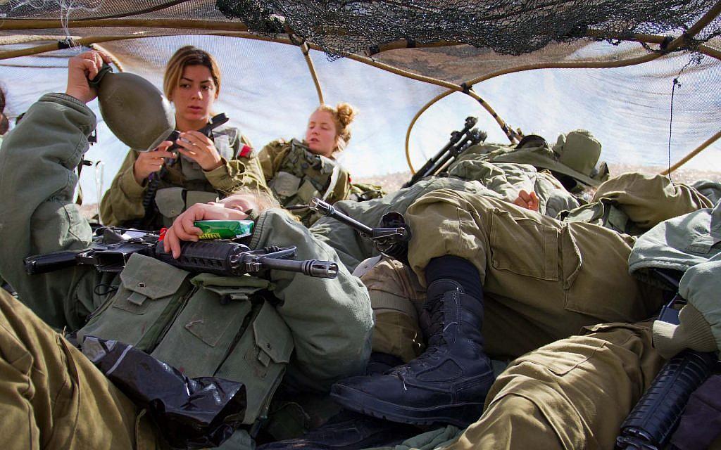 """A field intelligence exercise in a camouflaged """"rock"""" near Eilat (Debbie Zimelman via JTA)"""
