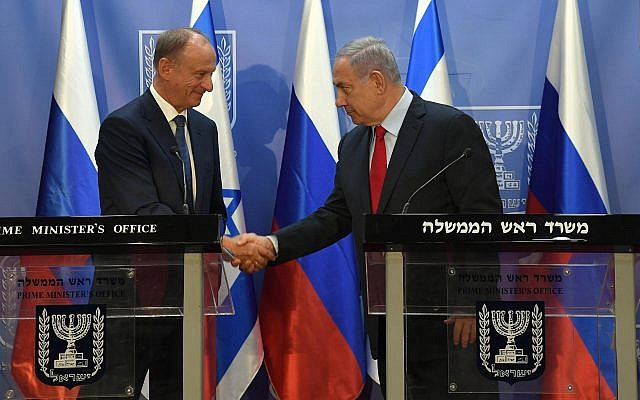 Prime Minister Benjamin Netanyahu, right, meets the secretary of Russia's National Security Council, Nikolai Patrushev, in Jerusalem, June 24, 2019. (Haim Tzach/GPO)