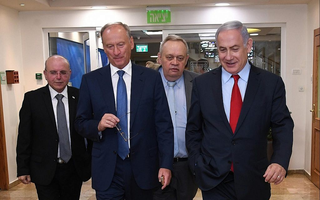 Prime Minister Benjamin Netanyahu, right, meets Russia's national security adviser, Nikolai Patrushev, second from left, in Jerusalem, June 24, 2019. Israel's National Security Adviser Meir Ben-Shabbat is at left. (Haim Tzach/GPO)