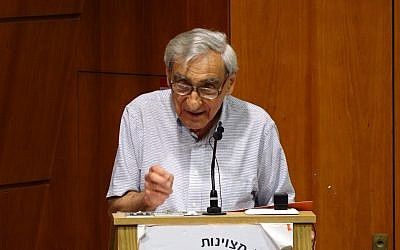 Political philosopher Michael Walzer speaks at Bar Ilan University, June 13, 2019 (Moshe Atar)