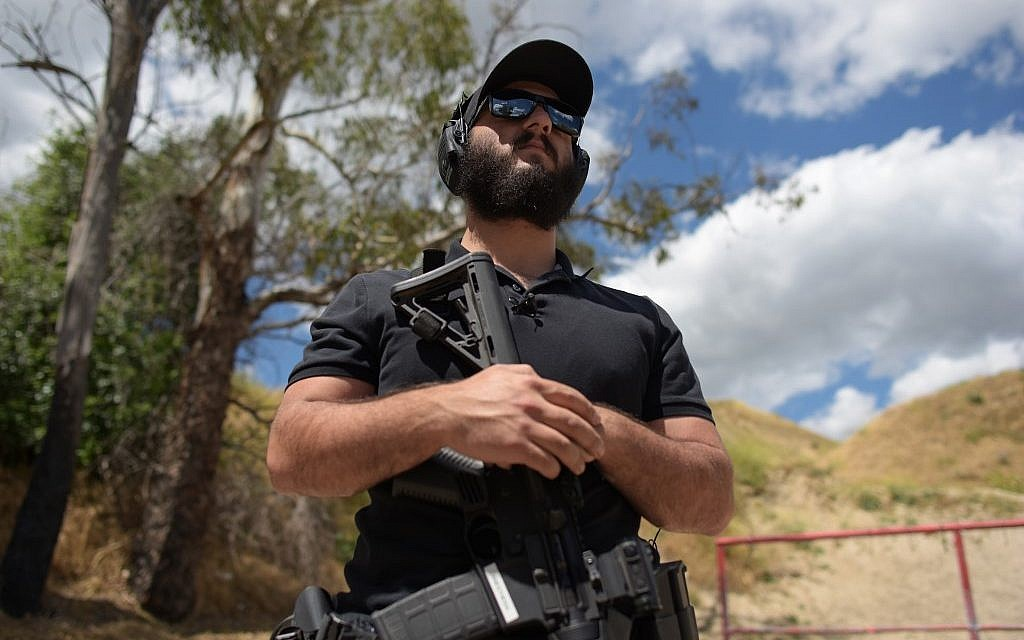 Rabbi Raziel Cohen, aka 'Tactical Rabbi,' speaks with AFP during an interview at the Angeles Shooting Ranges in Pacoima, California on May 20, 2019. (Agustin Paullier/AFP)