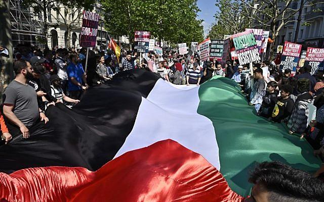 People attend a pro-Palestinian march marking al-Quds Day in Berlin on June 1, 2019. (Tobias SCHWARZ / AFP)