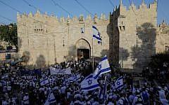 Israelis gather at the Old City's Damascus gate in Jerusalem on June 2, 2019, to celebrate Jerusalem Day (MENAHEM KAHANA / AFP)