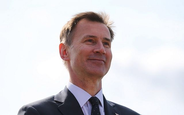 Britain's Foreign Secretary Jeremy Hunt speaks to the media at Stansted Airport, north of London on June 3, 2019. (ISABEL INFANTES / AFP)