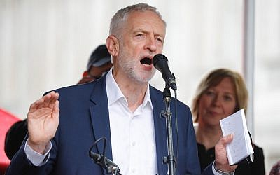 Britain's opposition Labour Party leader Jeremy Corbyn addresses a demonstration against US President Donald Trump's state visit to the UK in central London on June 4, 2019. (Tolga Akmen/AFP)