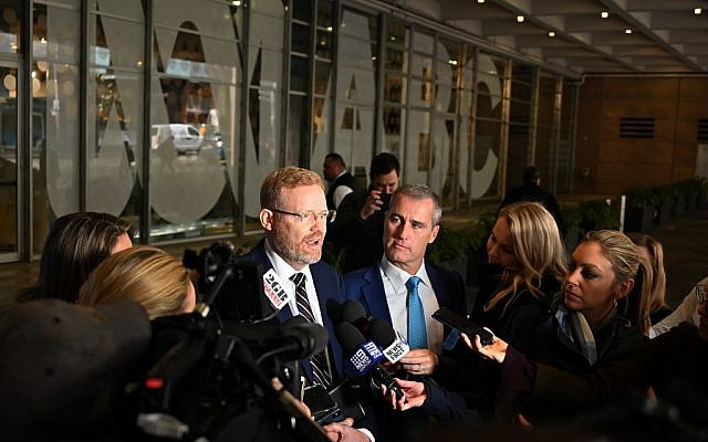 ABC's editorial director Craig McMurtrie speaks to the media as Australian police raid the headquarters of the public broadcaster in Sydney on June 5, 2019. (Peter Parks/AFP)