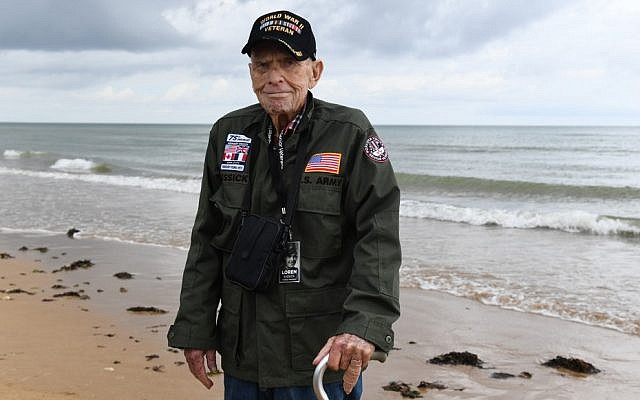 US WWII veteran Loren Kissick from Puyallup, Washington, stands on Omaha Beach in Saint-Laurent-sur-Mer, Normandy, northwestern France, on June 5, 2019, as part of D-Day commemorations marking the 75th anniversary of the World War II Allied landings in Normandy. (Fred Tanneau/AFP)