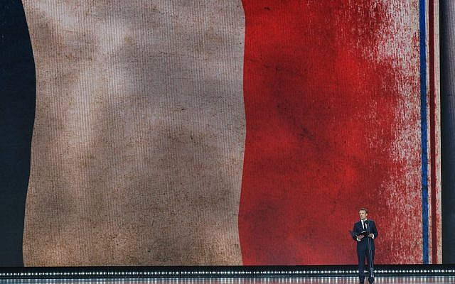 French President Emmanuel Macron speaks at an event to commemorate the 75th anniversary of the D-Day landings, in Portsmouth, southern England, on June 5, 2019. (Mandel Ngan/AFP)