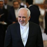 Iranian Foreign Minister Mohammad Javad Zarif arrives to meet his Japanese counterpart in Tehran on June 12, 2019. (Atta Kenare/AFP)