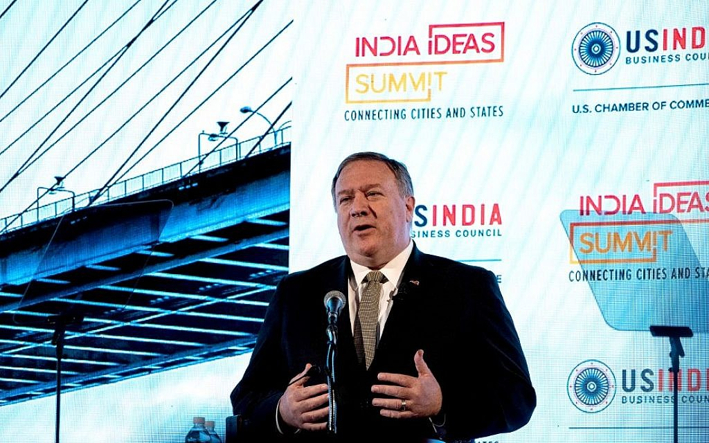 US Secretary of State Mike Pompeo addresses the India Ideas Summit in Washington on June 12, 2019. (Nicholas Kamm/AFP)