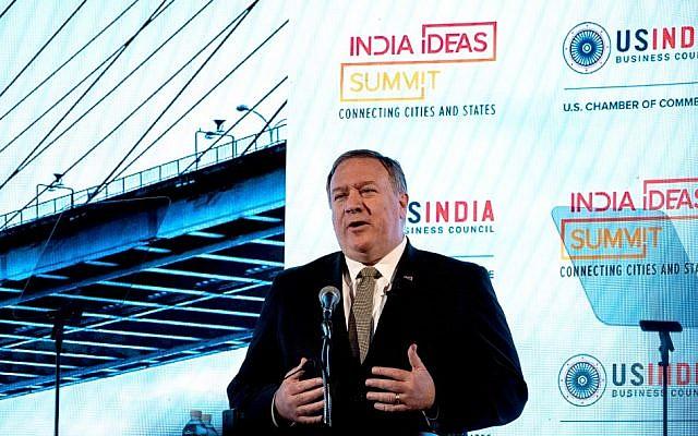 US Secretary of State Mike Pompeo addresses the India Ideas Summit in Washington on June 12, 2019. (Nicholas Kamm/AFP)