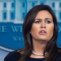 In this file photo taken on March 11, 2019 White House Press Secretary Sarah Huckabee Sanders speaks during a press briefing at the White House in Washington, DC. (SAUL LOEB / AFP)
