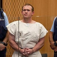 In this picture taken on March 16, 2019, Brenton Tarrant (C), the man charged in relation to the Christchurch massacre, stands in the dock during his appearance at the Christchurch District Court. (Mark Mitchell/Pool/AFP)