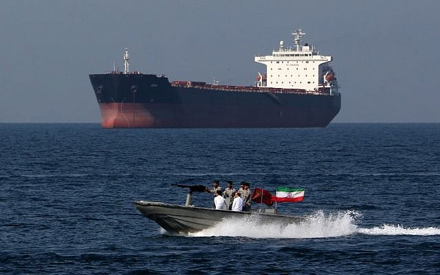 In this file photo taken on April 30, 2019, Iranian soldiers take part in the 'National Persian Gulf Day' in the Strait of Hormuz. (Atta Kenare/AFP)