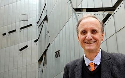 In this file photo taken on August 21, 2014, then-Director of the Jewish Museum in Berlin Peter Schaefer poses outside the Jewish Museum in Berlin. (Wolfgang Kumm/dpa/AFP) )
