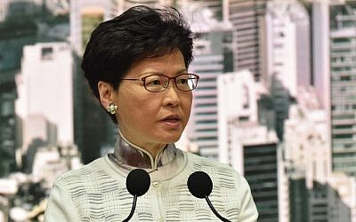 Hong Kong Chief Executive Carrie Lam speaks during a press conference at the government headquarters in Hong Kong on June 15, 2019. (Hector Retamal/AFP)