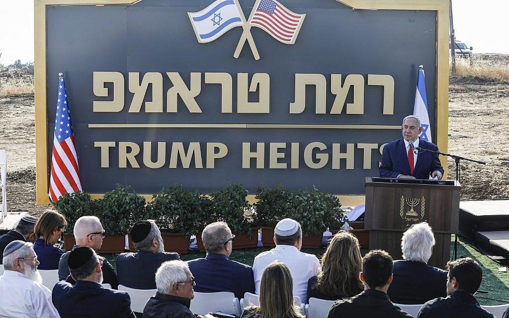 Netanyahu inaugurates new Golan community honoring Trump