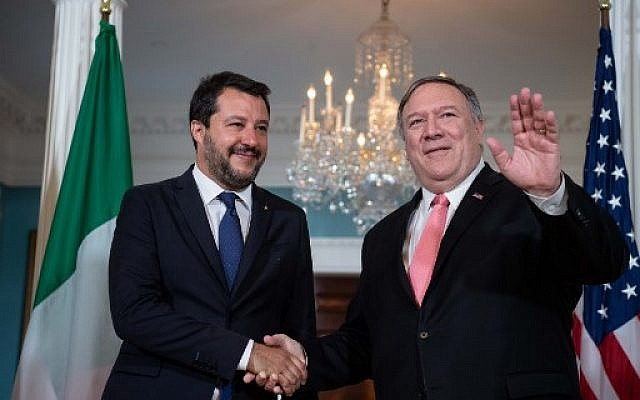US Secretary of State Mike Pompeo (R) greets Italian Interior Minister Matteo Salvini prior to talks at the State Department in Washington, DC, on June 17, 2019. (Photo by NICHOLAS KAMM / AFP)