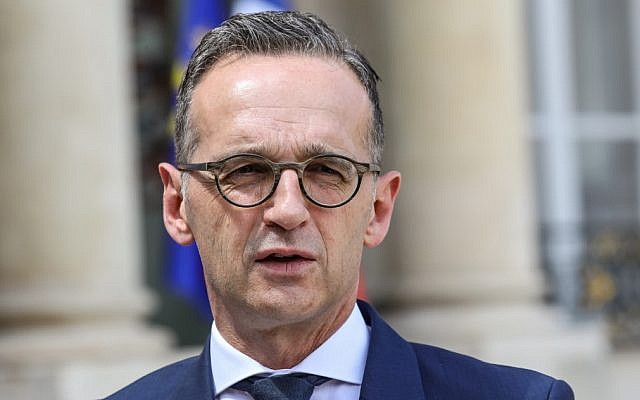 German Foreign Minister Heiko Maas leaves the Elysee presidential palace after attending the weekly Cabinet meeting on June 19, 2019 in Paris. (ludovic Marin/AFP)
