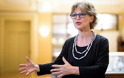 UN special rapporteur on extrajudicial, summary or arbitrary executions Agnes Callamard answers questions on a report of the killing of Saudi journalist Jamal Khashoggi on June 19, 2019, in Geneva. (Fabrice Coffrini/AFP)