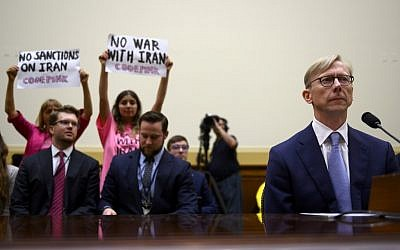 Brian Hook, the US special representative for Iran, testifies before a House Foreign Affairs Subcommittee on the Middle East, North Africa, and International Terrorism hearing at the Capitol in Washington on June 19, 2019. (Andrew Caballero-Reynolds/AFP)