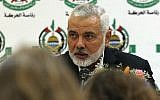 Hamas leader Ismail Haniyeh speaks during a meeting with foreign reporters in Gaza City on June 20, 2019 (Mohammed Abed/AFP)