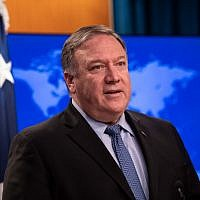 US Secretary of State Mike Pompeo presents the 2018 International Religious Freedom Report at the State Department in Washington, DC, on June 21, 2019. (NICHOLAS KAMM / AFP)