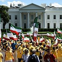 The Organization of Iranian American Communities march to urge 'recognition of the Iranian people's right for regime change,' in front of the White House in Washington, DC, on June 21, 2019. (Eric BARADAT / AFP)