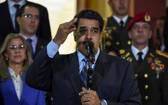 Venezuelan President Nicolas Maduro speaks after meeting Chilean High Commissioner for Human Rights Michelle Bachelet at Miraflores Presidential Palace in Caracas, on June 21, 2019.  (Photo by YURI CORTEZ / AFP)