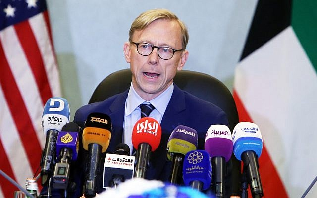 Brian Hook, the US Special Representative for Iran, speaks during a press conference in Kuwait City on June 23, 2019.  (Yasser Al-Zayyat / AFP)