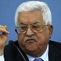 Palestinian Authority President Mahmoud Abbas speaks during a meeting with journalists, in the West Bank city of Ramallah on June 23, 2019. (ABBAS MOMANI / AFP)
