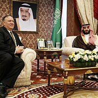 Seated under a portrait of the Saudi monarch, US Secretary of State Mike Pompeo (L) meets Saudi Arabia Crown Prince Mohammed bin Salman at Al Salam Palace in the Red Sea port of Jeddah on June 24, 2019. (Jacquelyn Martin / POOL / AFP)