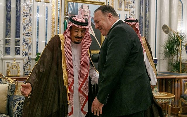 US Secretary of State Mike Pompeo (R) is received by Saudi King Salman bin Abdulaziz at Al Salam Palace in the Red Sea city of Jeddah on June 24, 2019 (Jacquelyn Martin / POOL / AFP)