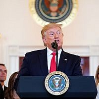 US President Donald Trump speaks before signing an executive order in the Grand Foyer of the White House on June 24, 2019. (Mandel Ngan/AFP)