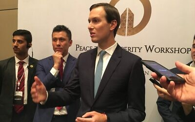 "Jared Kushner, US President Donald Trump's son-in-law and adviser, speaks to reporters as he closes the US-sponsored Middle East economic conference ""Peace to Prosperity Workshop"" in the Bahraini capital Manama on June 26, 2019. (SHAUN TANDON / AFP)"