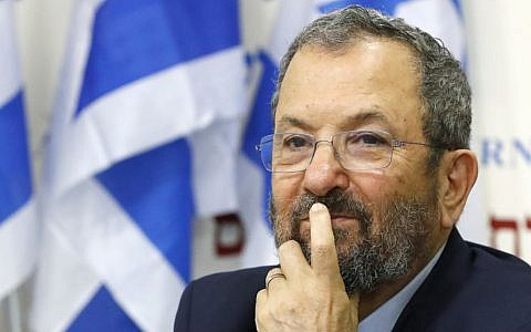 Former prime minister Ehud Barak at a press conference announcing his return to politics ahead of national elections in September, Tel Aviv, June 26, 2019. (Jack Guez/AFP)