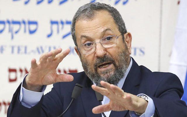 Former prime minister Ehud Barak speaks at a press conference announcing his return to politics ahead of national elections in September, Tel Aviv, June 26, 2019. (Jack Guez/AFP)