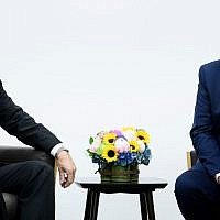 Turkey's President Recep Tayyip Erdogan (L) and US President Donald Trump at a bilateral meeting on the sidelines of the G20 Summit in Osaka, Japan, on June 29, 2019. (Brendan Smialowski/AFP)