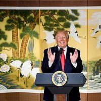 US President Donald Trump delivers a speech at the Hyatt Hotel in Seoul on June 30, 2019. (Brendan Smialowski / AFP)