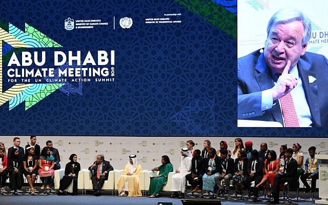 UN Secretary General Antonio Guterres (C-L), at a panel during the opening of the Abu Dhabi climate meeting summit on June 30, 2019, in Abu Dhabi. (KARIM SAHIB / AFP)