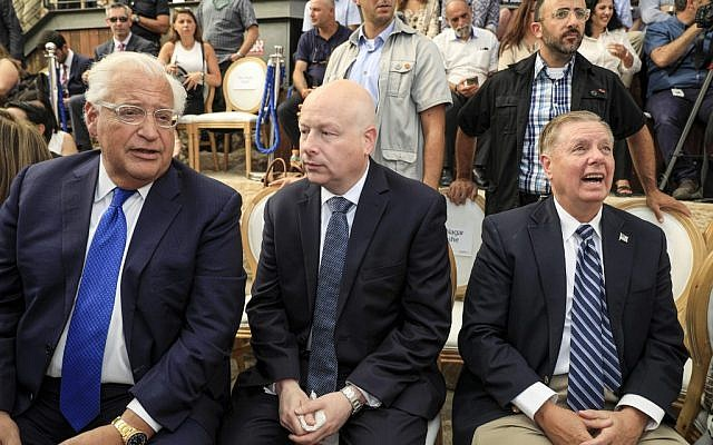 (L to R) US Ambassador to David Friedman, White House Middle East envoy Jason Greenblatt, and US Senator Lindsey Graham (R-SC) attend the opening of an ancient road at the City of David archaeological and tourist site in the Palestinian neighborhood of Silwan in East Jerusalem on June 30, 2019. (Tsafrir Abayov/AFP)