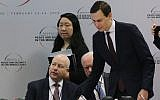 Jared Kushner, center, and Jason Greenblatt, left, attend the opening session of a Middle East peace conference in Warsaw, Poland, Feb. 14, 2019. (Sean Gallup/Getty Images via JTA)