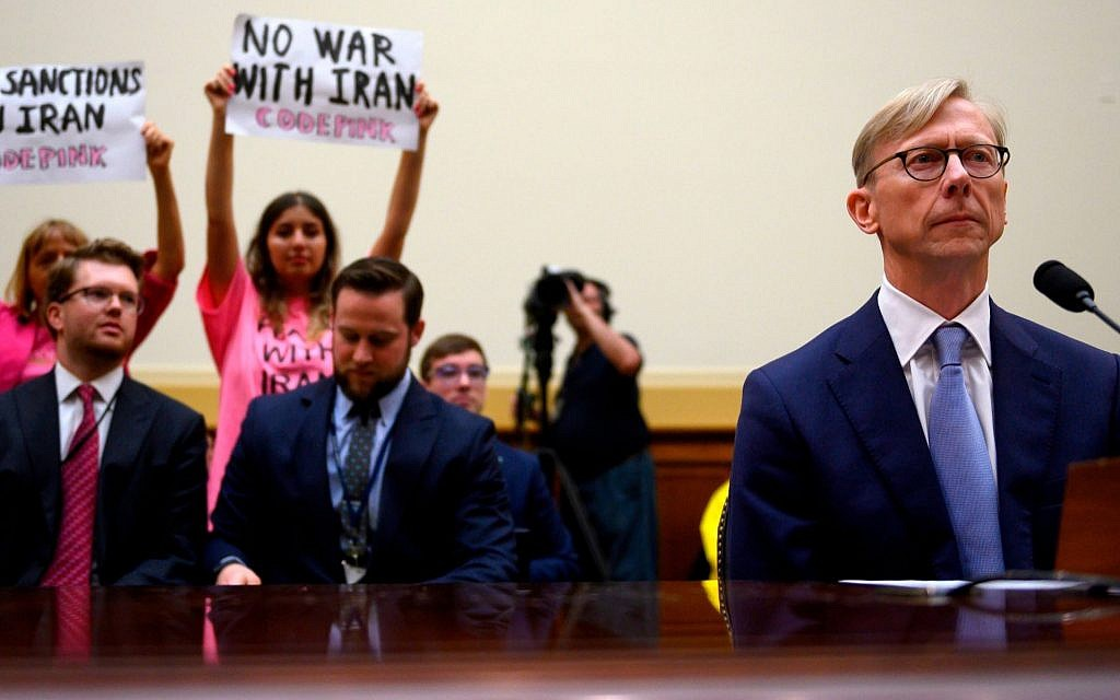 Brian Hook, the US Special Representative for Iran, testifies before a House subcommittee, June 19, 2019. (Andrew Caballero-Reynolds/AFP/Getty Images via JTA)